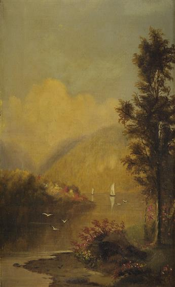 WORTHINGTON WHITTREDGE River Landscape with Sailboat.