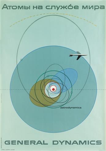 ERIK NITSCHE (1908-1998). GENERAL DYNAMICS / [ATOMS FOR PEACE] / ASTRODYNAMICS. 1955. 51x35 inches, 130x90 cm. R. Marsens, Lausanne.