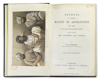 BELLEW, HENRY WALTER. Journal of a Political Mission to Afghanistan, in 1857.  1862