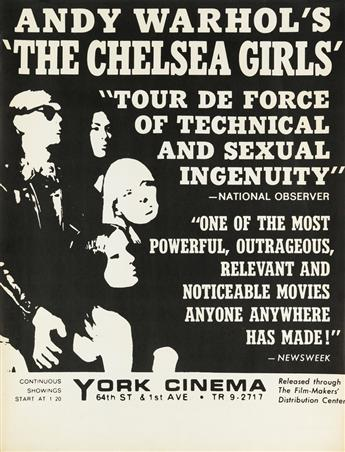 ANDY WARHOL (1928-1987). ANDY WARHOLS THE CHELSEA GIRLS. 1966. 39x22 inches, 99x57 cm.