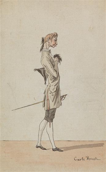 CARLE VERNET (Bordeaux 1758-1836 Paris) A Caricature of a Dandy.