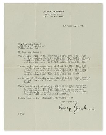 GERSHWIN, GEORGE. Typed Letter Signed, to Benjamin Kasser,