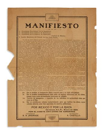 (MEXICO--IMMIGRATION.) Manifiesto against the Chinese migration from the anti-Chinese committee of Cardenas.