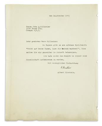 (SCIENTISTS.) EINSTEIN, ALBERT. Archive of 5 Typed Letters Signed, A. Einstein, to inventor John Anthony Gillmeier, in German,