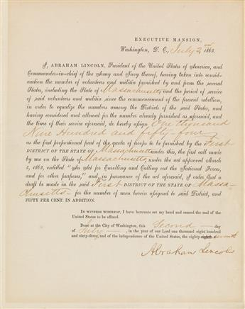 (CIVIL WAR.) LINCOLN, ABRAHAM. Partly-printed Document Signed, as President,