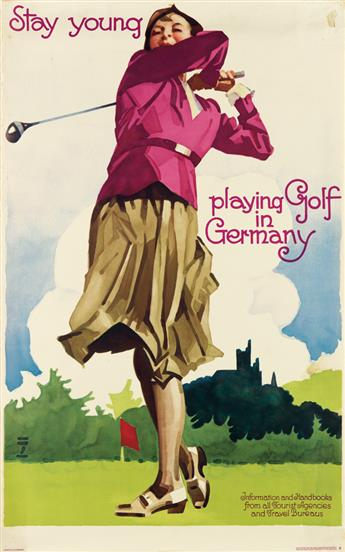 LUDWIG HOHLWEIN (1874-1949). STAY YOUNG / PLAYING GOLF IN GERMANY. Circa 1930. 39x25 inches, 101x63 cm. Reichsbahnzentrale fur den Deut