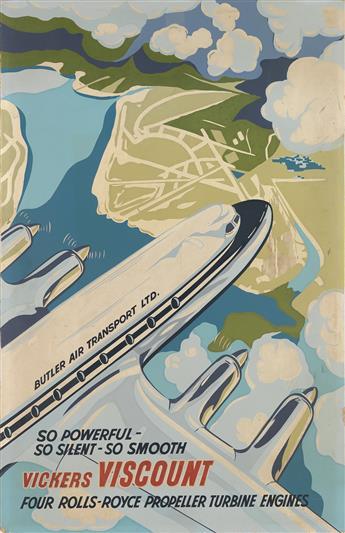 DESIGNER UNKNOWN. VICKERS VISCOUNT. Circa 1955. 39x25 inches, 99x63 cm.