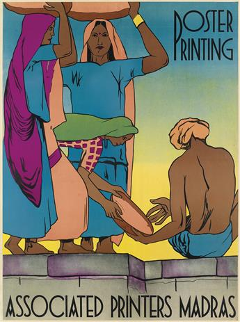 DESIGNER UNKNOWN. POSTER PRINTING / ASSOCIATED PRINTERS MADRAS. 38x28 inches, 98x73 cm. Associated Printers, Madras.