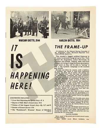 (CIVIL RIGHTS--HARLEM RIOTS.) PROGRESSIVE LABOR PARTY. Group of 4 items related to the 1964 Harlem Riots.
