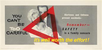 DESIGNER UNKNOWN. YOU CANT BE TOO CAREFUL. Circa 1950s. 26x55 inches, 68x139 cm. J. Weiner Ltd., [London.]