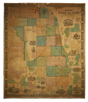 (CHICAGO.) Flower, J.W. Map of Cook County Illinois.