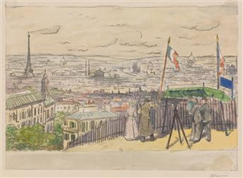 CHARLES MAURIN (Le Puy 1856-1914 Grasse) A View of Paris from Montmartre.