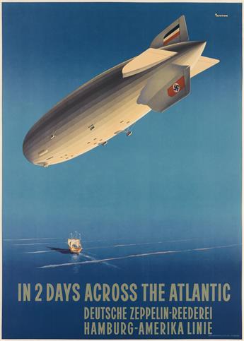OTTOMAR ANTON (1895-1976). IN 2 DAYS ACROSS THE ATLANTIC / HAMBURG - AMERIKA LINIE. Circa 1936. 33x23 inches, 83x59 cm. Mühlmeister and