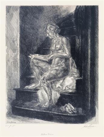 JOHN SLOAN Nude on Stairs.