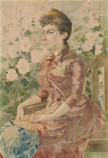 RICHARD RANFT (Plainpalais 1862-1931 Paris) A Woman Holding a Japanese Fan, Seated in a Garden.