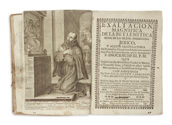 (MEXICAN IMPRINT--1697.) Muñoz de Castro, Pedro; et al. Exaltacion magnifica de la Betlemitica rosa de la mejor americana Jerico.