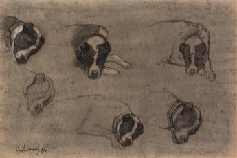 ALBERT LEBOURG (Montfort-sur-Risle 1849-1928 Rouen) Studies of a Sleeping Dog, Mustapha, Algiers.