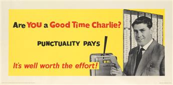 DESIGNER UNKNOWN. ARE YOU A GOOD TIME CHARLIE? Circa 1950s. 26x55 inches, 68x139 cm. J. Weiner Ltd., [London.]