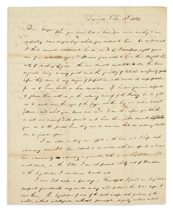 (SLAVERY AND ABOLITION.) Edwards, John. Letter discussing the hire and training of slaves to make cigars.