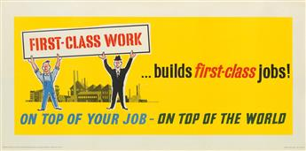 DESIGNER UNKNOWN. ON TOP OF YOUR JOB - ON TOP OF THE WORLD. Group of 4 posters. Circa 1950s. Each approximately 26x55 inches, 68x139 cm