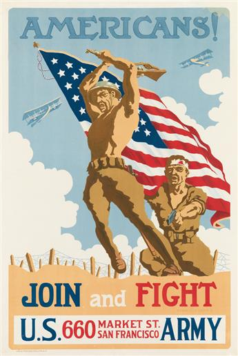 EDWIN DE LA LAING (DATES UNKNOWN). AMERICANS! / JOIN AND FIGHT. 1918. 41x27 inches, 105x70 cm. Louis Roesch, San Francisco.