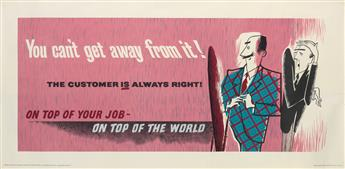 DESIGNER UNKNOWN. ON TOP OF YOUR JOB - ON TOP OF THE WORLD. Group of 3 posters. Circa 1950s. Each approximately 26x55 inches, 68x139 cm