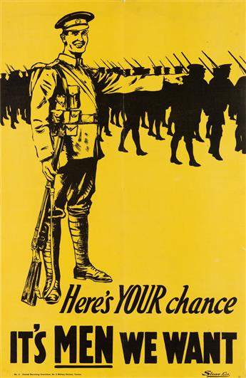 DESIGNER UNKNOWN. HERES YOUR CHANCE / ITS MEN WE WANT. Circa 1915. 37x24 inches, 96x62 cm. Stone Ltd., [Toronto.]