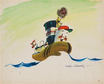 GRAMATKY, BERNARD HARDIE AUGUST JR. / ILLUSTRATION. Group of illustrations used for a filmstrip adaptation of Little Toot.