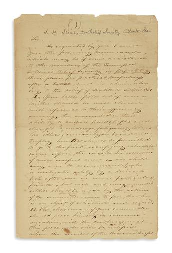 (CIVIL WAR--CONFEDERATE.) Stout, Samuel H. Letter detailing the civilian assistance needed by the Confederate hospital system.