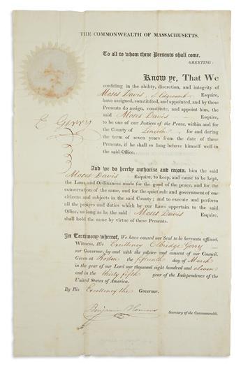 SIGNER AND FIRST GERRYMANDERER ELBRIDGE GERRY. Partly-printed Document Signed, E Gerry, as Governor, b...