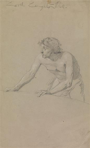 FREDERIC LEIGHTON (Scarborough 1830-1896 London) Study of a Man Bent at the Waist, Leaning Forward.