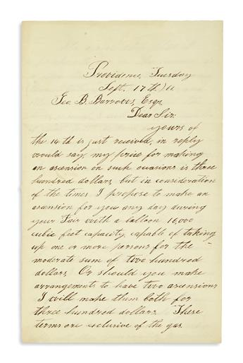 (AVIATION.) Allen, James. Letter by an important early aeronaut offering to make a balloon ascension at a fair.