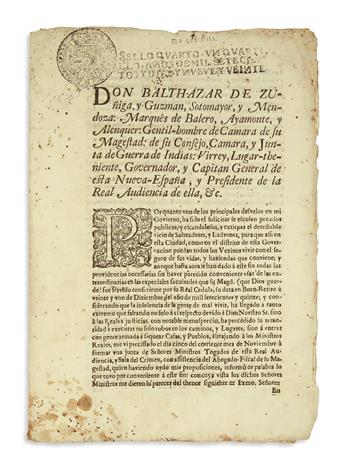 (MEXICAN IMPRINT--1719.) Zúñiga y Guzmán, Balthazar de. Proclmation addressing the issue of widespread crime in Mexico.