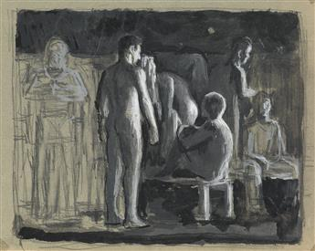 JARED FRENCH Scene with Nudes and Figures.