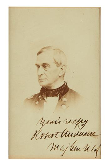 (CIVIL WAR.) ANDERSON, ROBERT. Photograph Signed and Inscribed, Yours respy / Robert Anderson / Maj. Gen USA,
