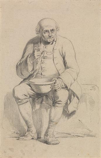 JEAN-JACQUES DE BOISSIEU (Lyon 1736-1810 Lyon) A Study of a Seated Man Eating Soup.