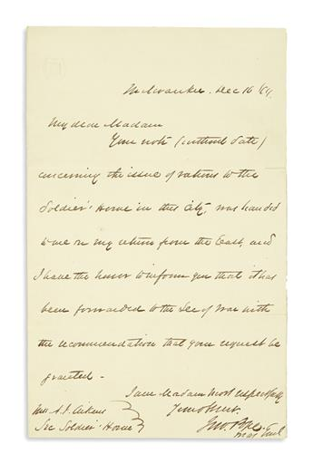 (CIVIL WAR.) Pope, John. Pair of war-date letters regarding rations for a soldiers home.