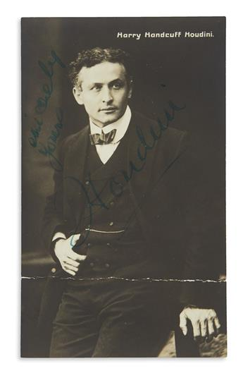 HOUDINI, HARRY. Photograph postcard Signed and Inscribed, Sincerely yours / Houdini,