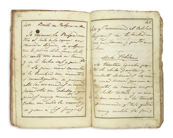(MEXICAN COOKERY.) Manuscript cookbook titled Cuaderno de varios guisados, dulces, vizcochos y pasteles todos los cuales