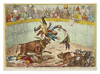 GILLRAY, JAMES. The Spanish-Bull-Fight,__or__the Corsican-Matador in Danger.
