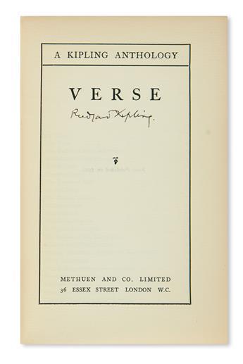 KIPLING, RUDYARD. A Kipling Anthology: Verse. Signed on the title-page.
