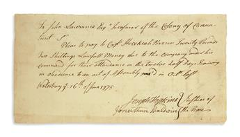 (AMERICAN REVOLUTION--1775.) Group of 8 Connecticut military pay orders and receipts, most from the first year of the war.