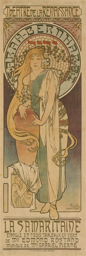 ALPHONSE MUCHA (1860-1939). LA SAMARITAINE. 1897. 70x23 inches, 177x60 cm. F. Champenois, Paris.