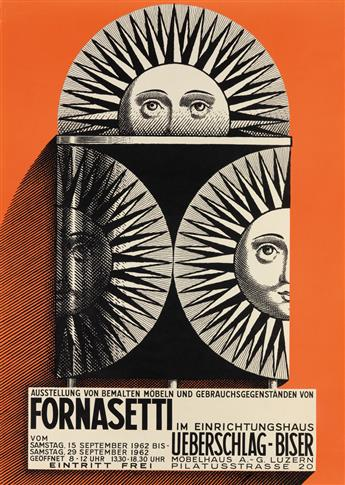 PIERO FORNASETTI (1913-1988). [FORNASETTI EXHIBITIONS.] Group of 14 posters. 1959 & 1962. Sizes vary.