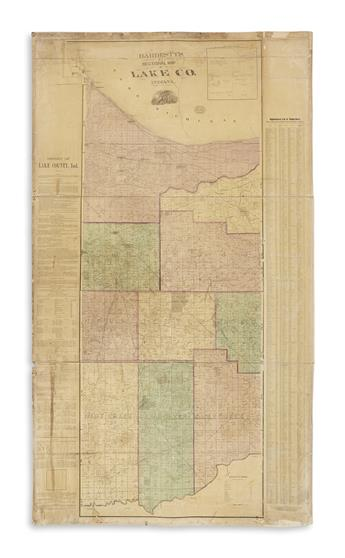 BLANCHARD, RUFUS. Hardestys Sectional Map of Lake Co., Indiana.