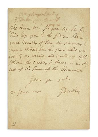 (COLONIAL WARS.) Dudley, Joseph. Letter urging aid for an Indian raid survivor who lost her husband.