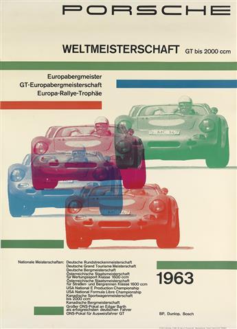 DESIGNER UNKNOWN. PORSCHE WELTMEISTERSCHAFT. 1963. 46x33 inches, 117x84 cm. Hannes Lohrer, Stuttgart.