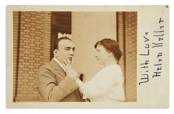 KELLER, HELEN. Postcard Photograph Signed and Inscribed, With Love / Helen Keller, in pencil, with Autograph Note, to Mrs. John Hays