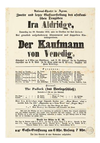 (THEATER.) Ira Aldridge! . . . Der Kaufmann von Venedig (The Merchant of Venice.)