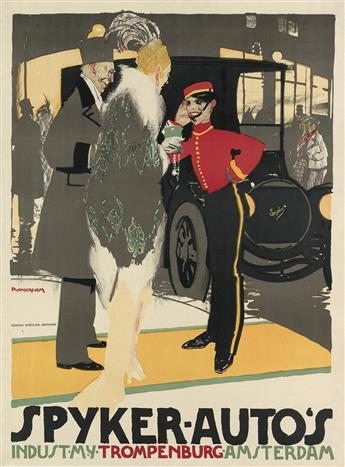 PIETER VAN DER HEM (1885-1961). SPYKER - AUTO'S. Circa 1910. 44x33 inches, 112x83 cm. Senefelder, Amsterdam.